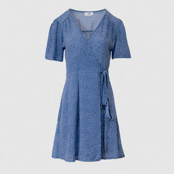 Vera Wrap Dress Short -Dusty Blue