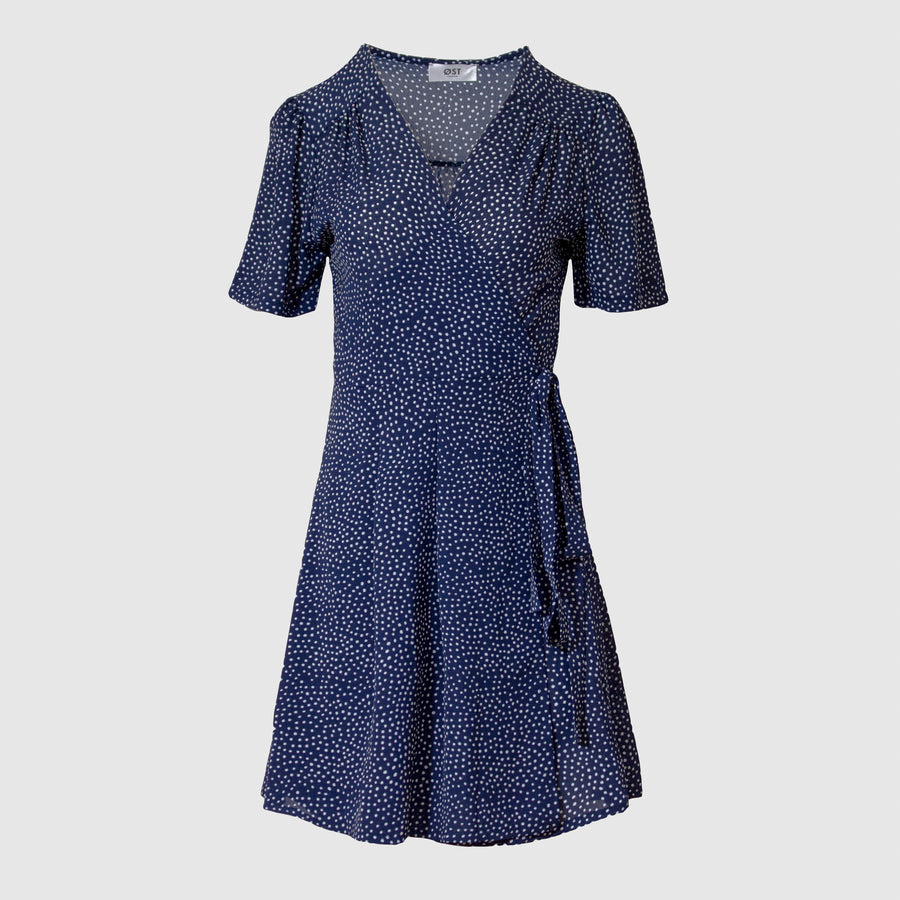 Vera Wrap Dress Short -Navy