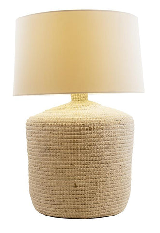 White Seagrass Table Lamp