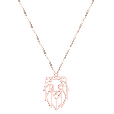 Collier Zodiaque Lion Origami (Or rose)