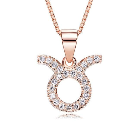 Collier Signe Astrologique Taureau Or Rose