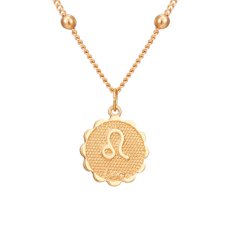 Collier Signe Astrologique Lion Rond