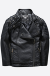 Bad A#% Stud Leather Moto Jacket - Posh Peyton