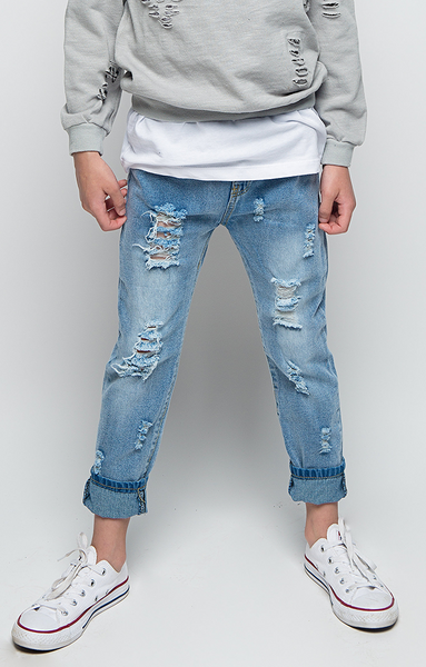 Iconic Distressed Denim Jeans