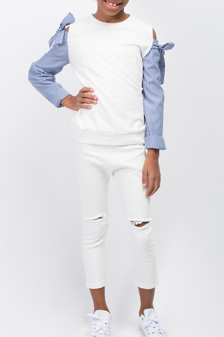 Issa White Affair Distressed Denim Jeans