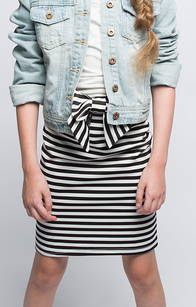 Line Up Striped Pencil Skirt