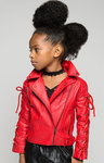 Tie Me Up Leather Bomber Jacket - Posh Peyton