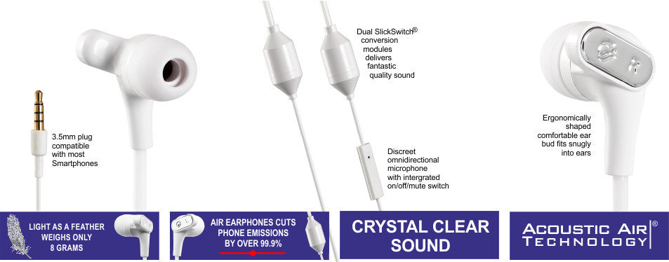 air airtube low emission earphone headsets for mobile phones