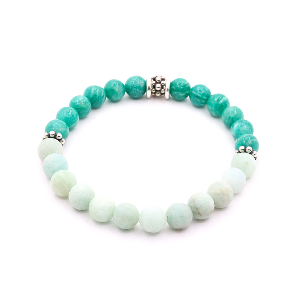 8MM MATTE AMAZONITE WITH RUSSIAN GREEN AMAZONITE AND BALI SILVER