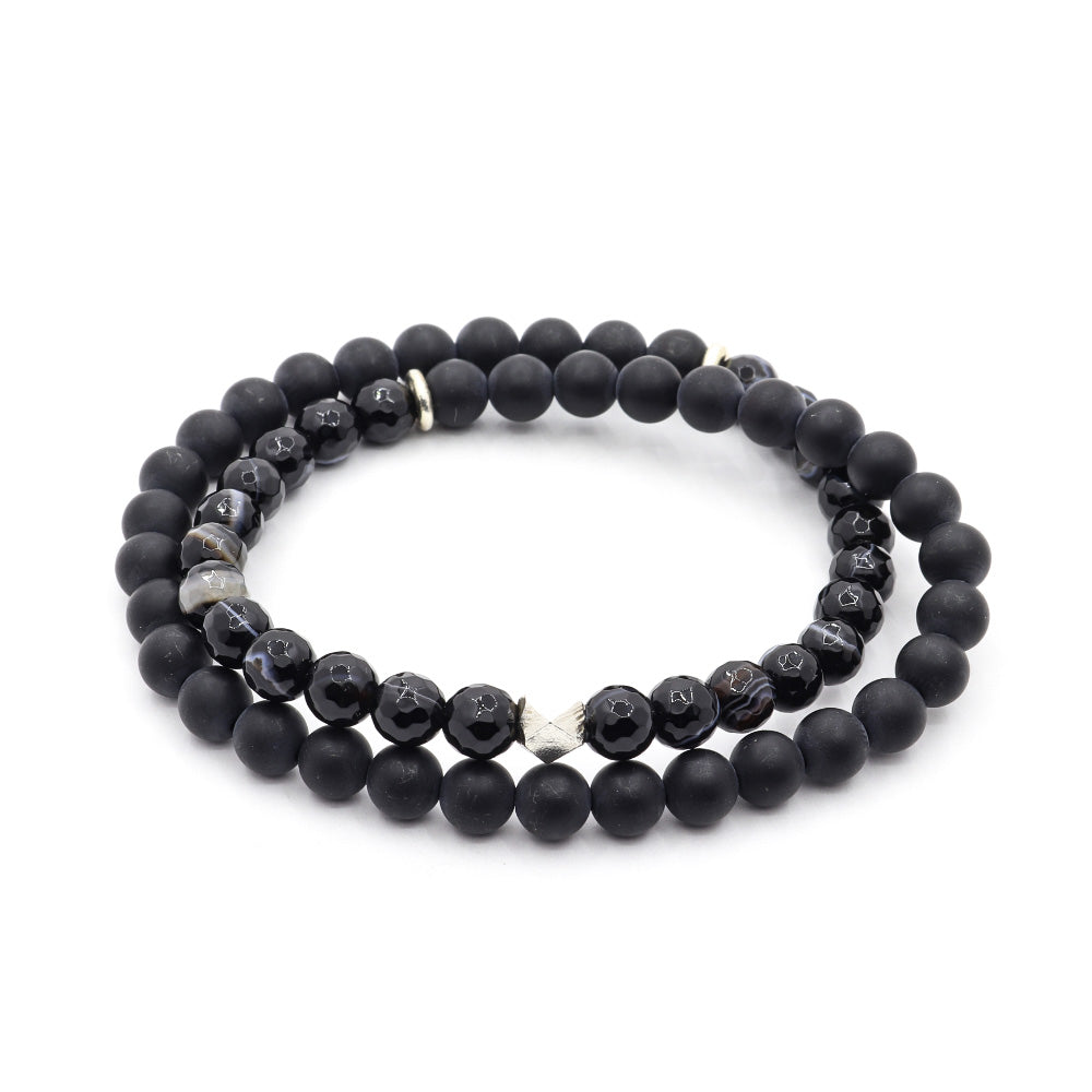 MATTE BLACK ONYX WITH FACETED SARDONIX AND THAI SILVER