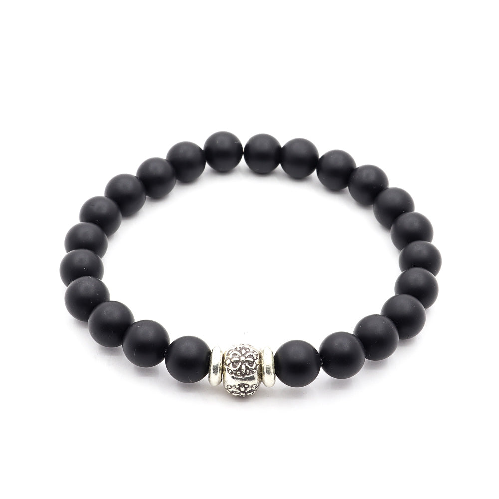 8MM MATTE BLACK ONYX WITH THAI SILVER
