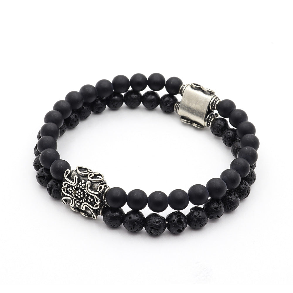 MATTE BLACK ONYX WITH VOLCANIC ROCK AND BALI SILVER