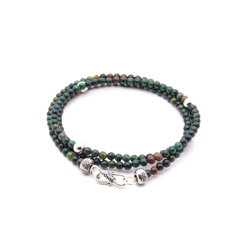GREEN JASPER WITH THAI AND BALI SILVER