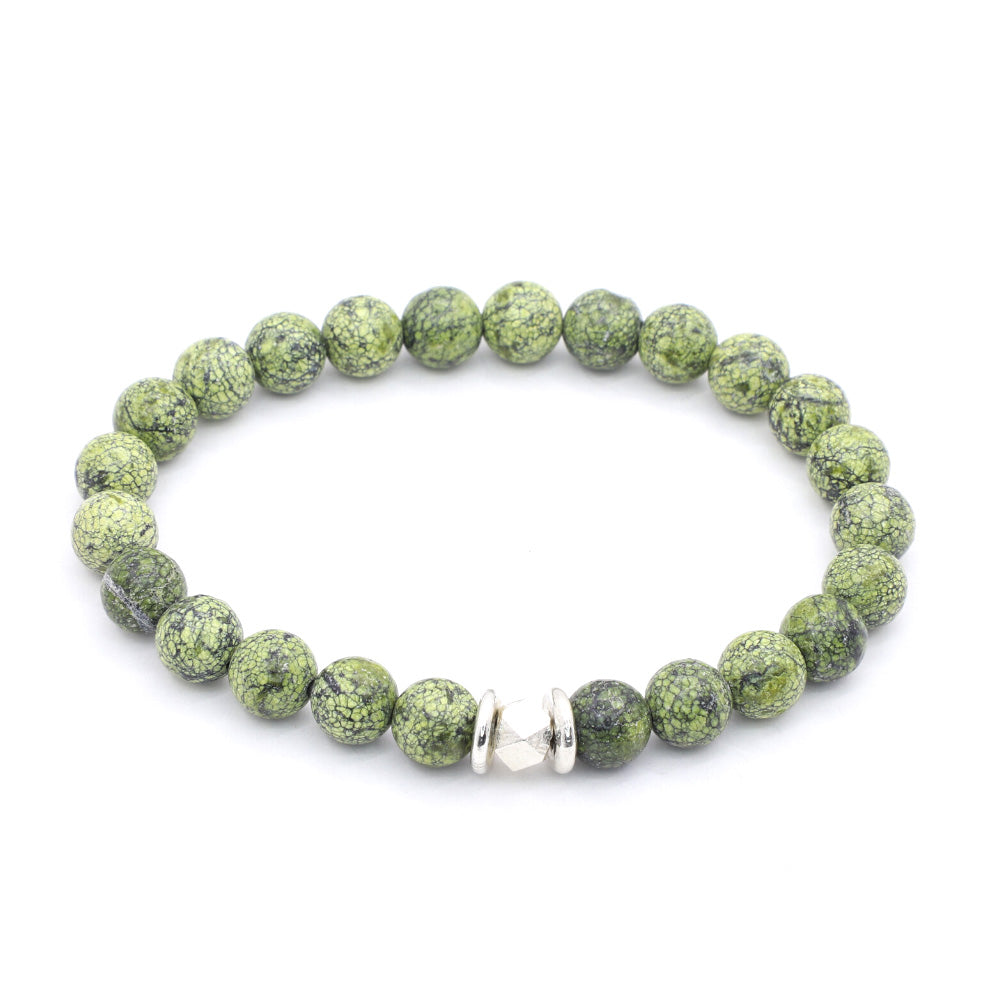 GREEN RUSSIAN SERPENTINE WITH THAI SILVER