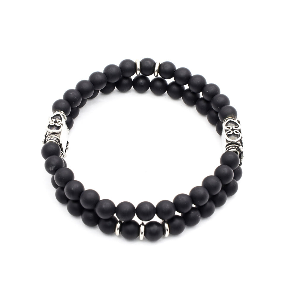 DOUBLE STACK MATTE BLACK ONYX WITH BALI AND THAI SILVER