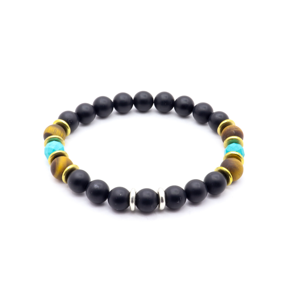 8MM MATTE BLACK ONYX WITH MATTE TIGERS EYE, FACETED TURQUOISE THAI SILVER AND AMERICAN BRASS