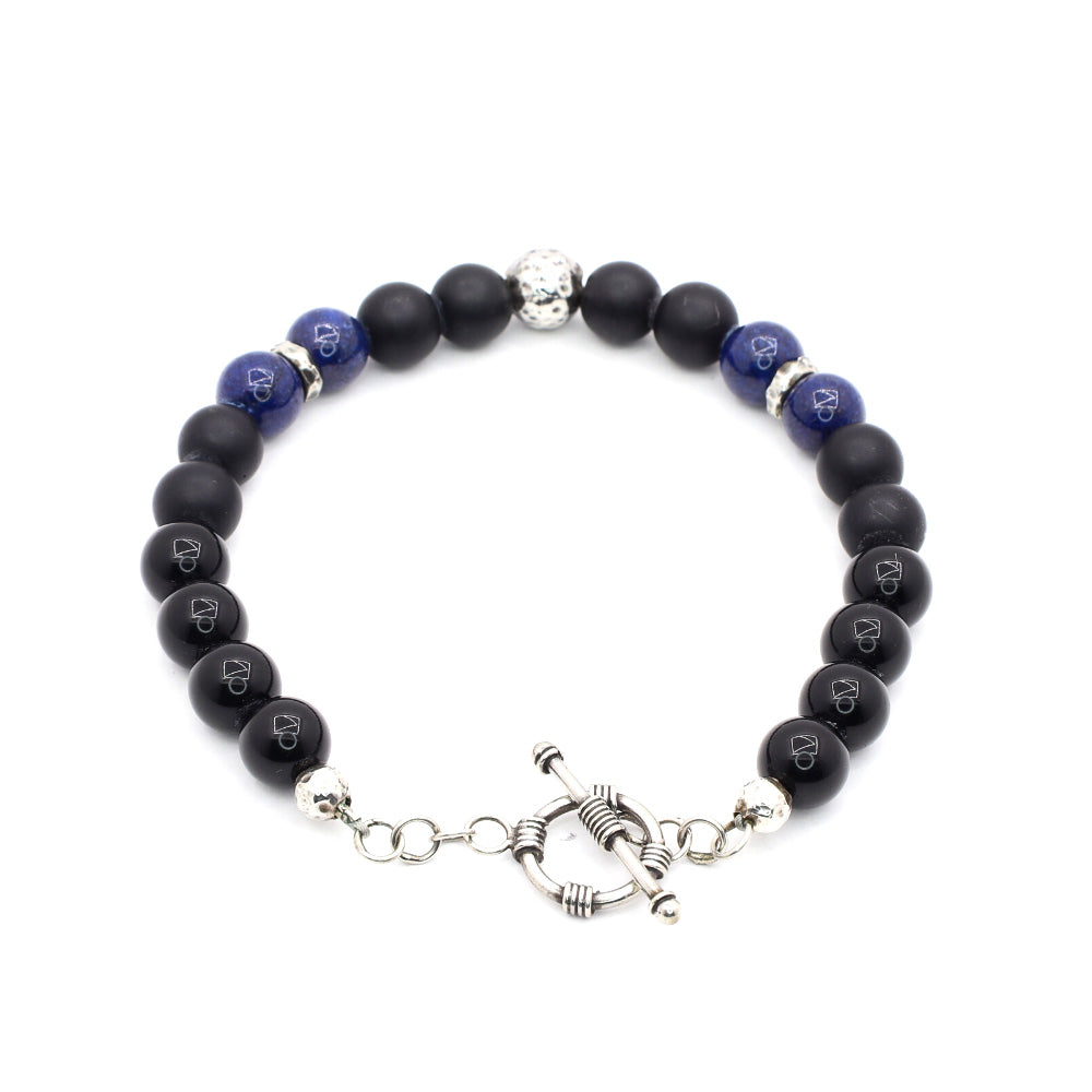 BLACK OBSIDIAN WITH LAPIS LAZULI, MATTE BLACK ONYX AND AMERICAN .925 SILVER