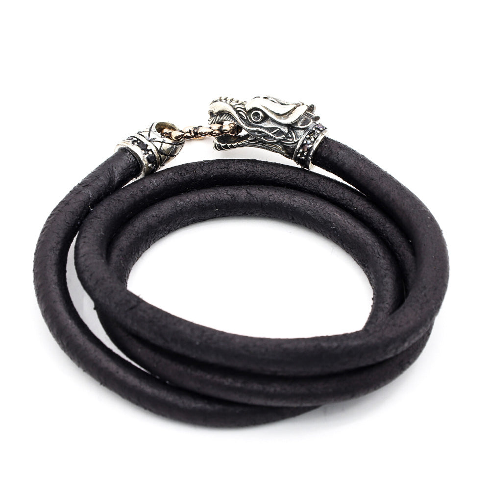 TRIPLE WRAP BLACK DIED LEATHER WITH SILVER BALI DRAGON CLASP