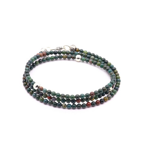 4MM GREEN JASPER WITH THAI AND BALI SILVER