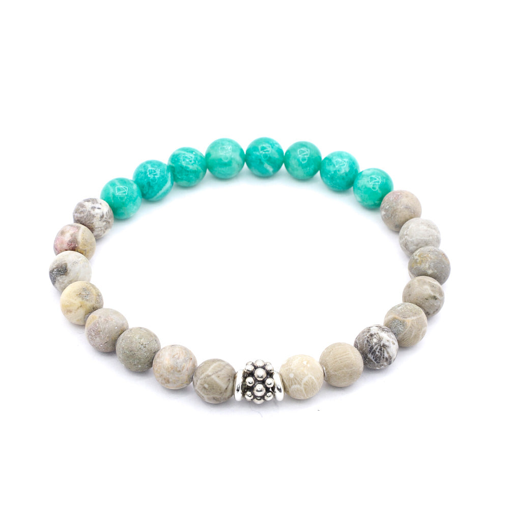 MATTE FOSSIL JASPER WITH RUSSIAN AMAZONITE AND BALI SILVER