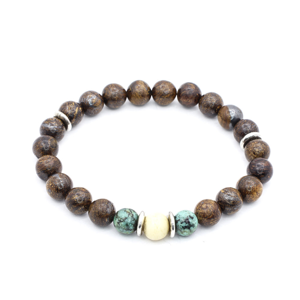 BRONZITE WITH AFRICAN TURQUOISE, OX BONE AND THAI SILVER