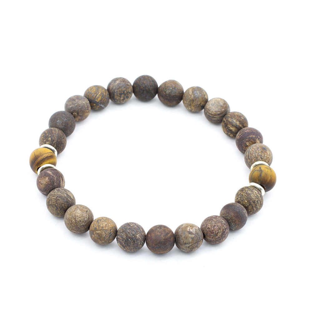 MATTE BRONZITE WITH MATTE TIGERS EYE AND THAI SILVER