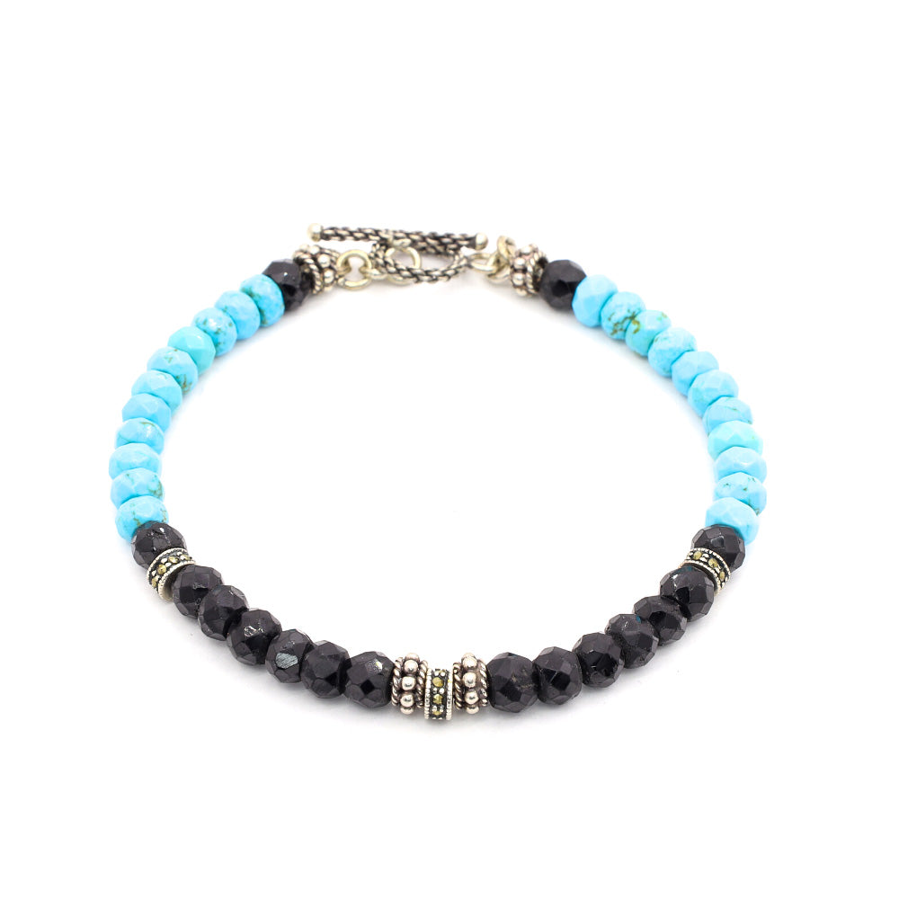 FACETED BLACK SPINEL WITH TURQUOISE, BALI SILVER, BLACK SPINEL SILVER ACCENTS AND BALI SILVER TOGGLE