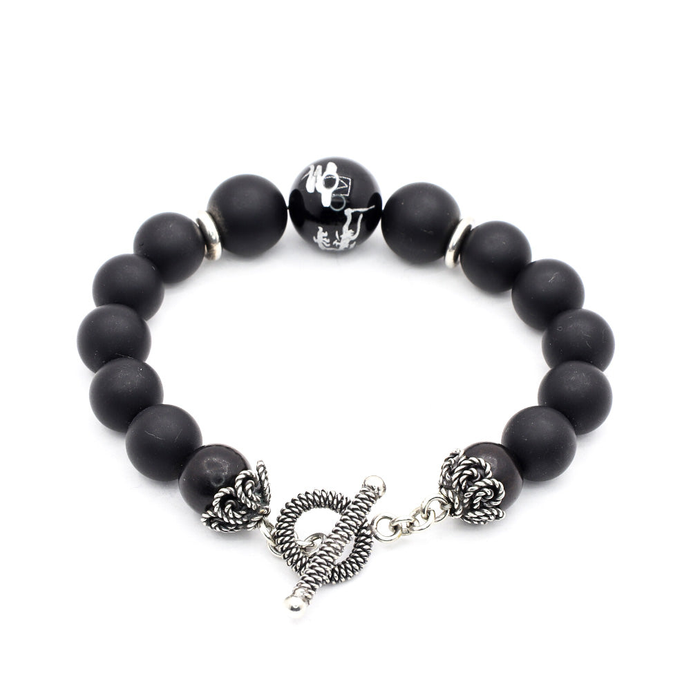 MATTE BLACK ONYX WITH DRAGON CARVED BLACK OBSIDIAN AND BALI SILVER
