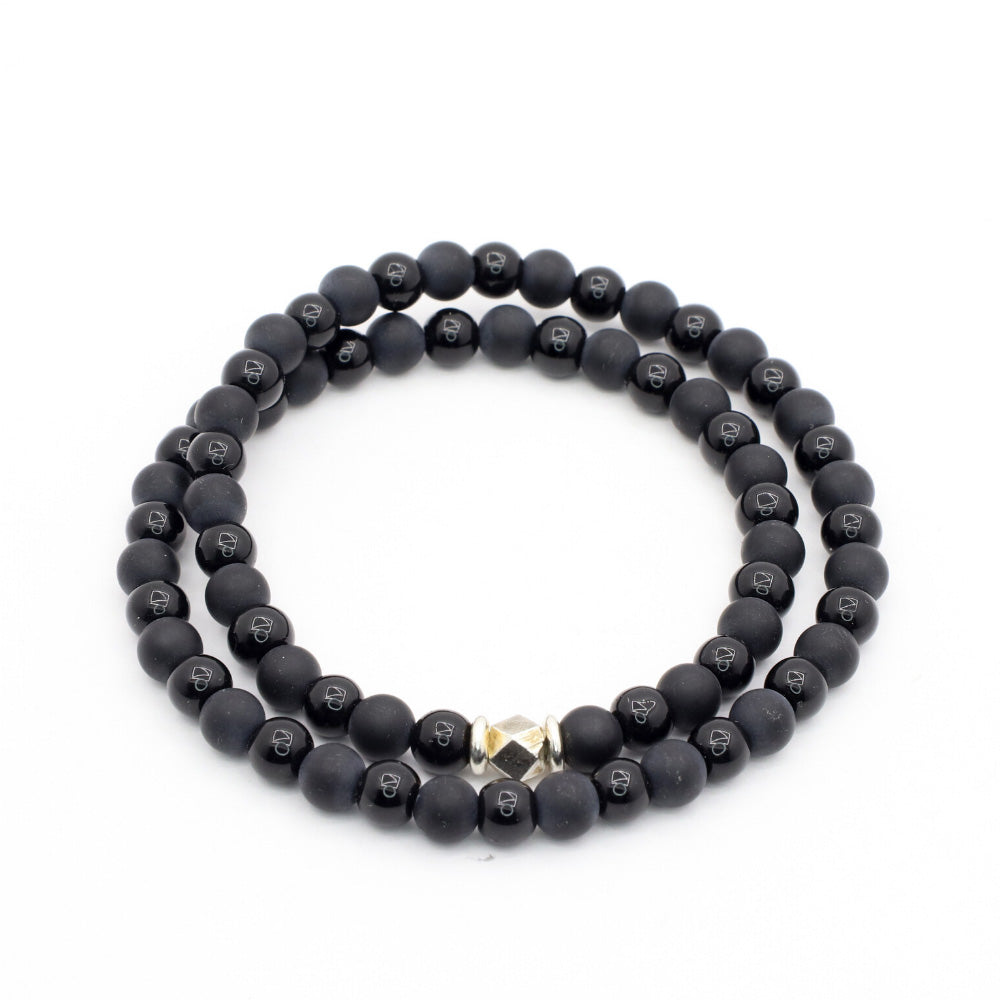 MATTE BLACK ONYX WITH OBSIDIAN AND THAI SILVER