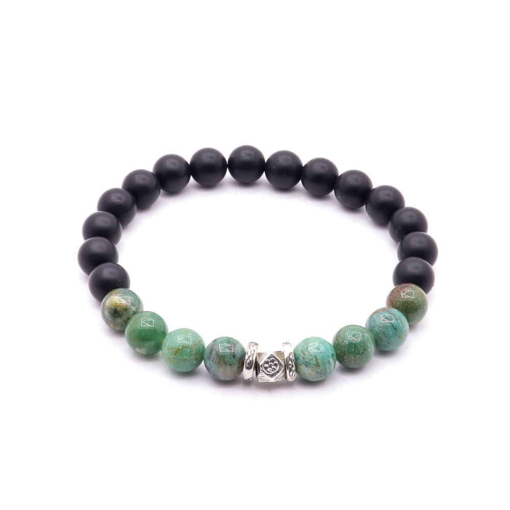 MATTE BLACK ONYX WITH GREEN CHRYSOPRASE AND THAI SILVER