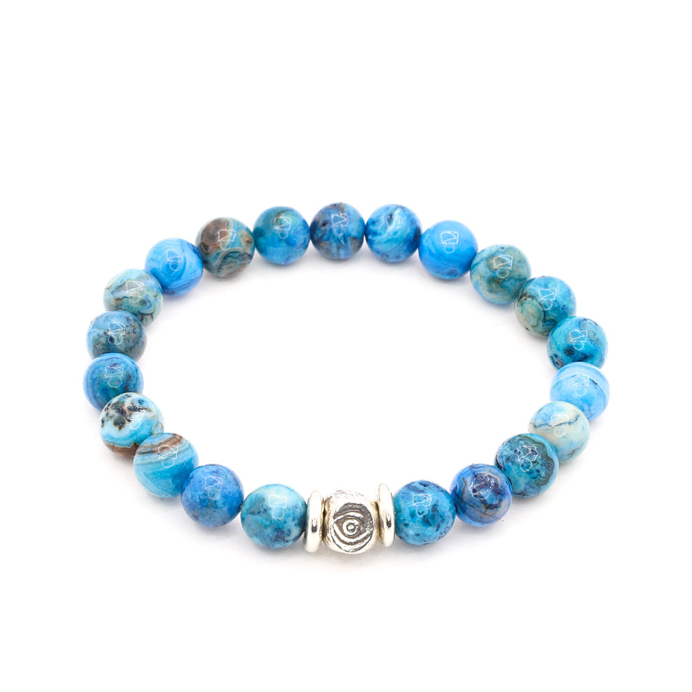 LADIES BLUE AGATE WITH THAI SILVER SEEING EYE