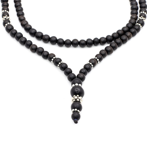 BLACK EBONY WOOD NECKLACE WITH BALI SILVER