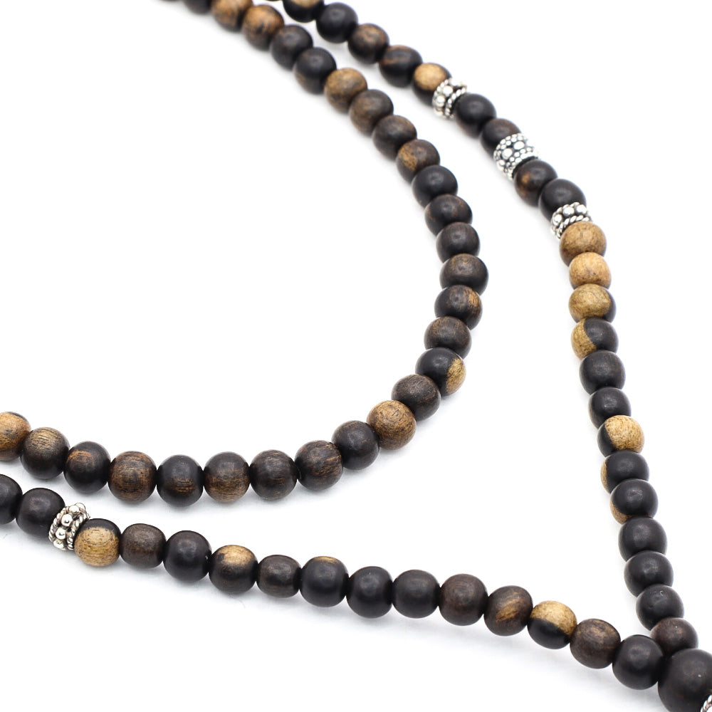 TIGER EBONY WOOD NECKLACE WITH BALI SILVER