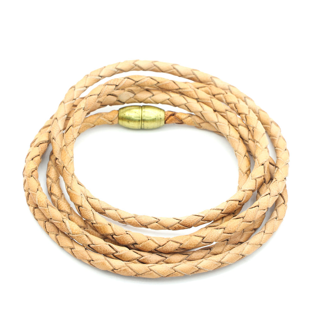 QUINT WRAP BRAIDED NATURAL LEATHER WITH BRASS MAGNETIC CLOSURE