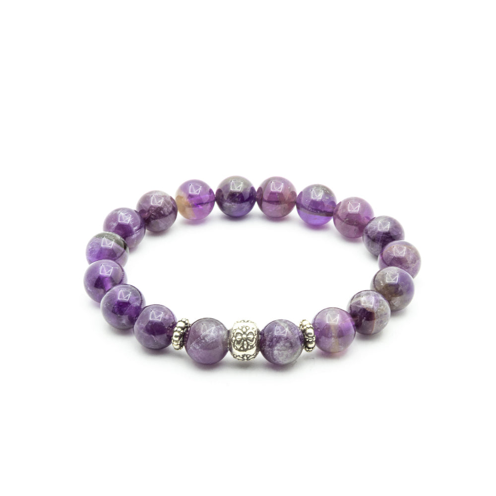 10MM AMETHYST WITH BALI SILVER