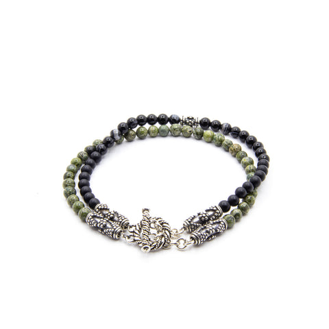 4MM BLACK SARDONYX WITH GREEN SERPENTINE AND BALI SILVER