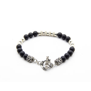 6MM LADIES MATTE BLACK ONYX WITH BALI AND THAI SILVER