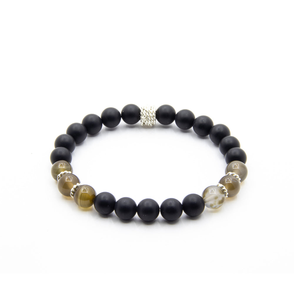 8MM MATTE BLACK ONYX SMOKEY QUARTZ AND BALI TWISTED SILVER