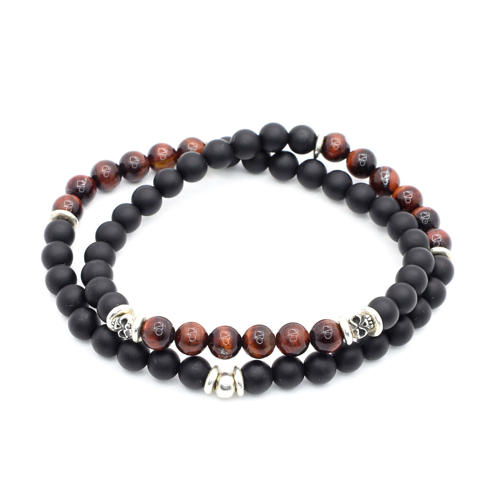 MATTE BLACK ONYX WITH RED TIGERS EYE, BALI SILVER SKULLS AND THAI SILVER