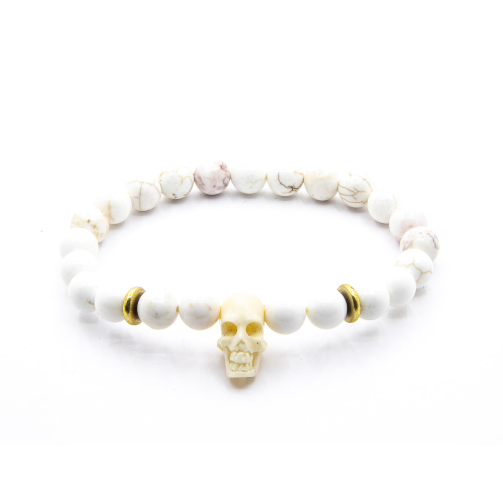 8MM MAGNESITE WITH HANDCARVED OX BONE SKULL AND AMERICAN BRASS