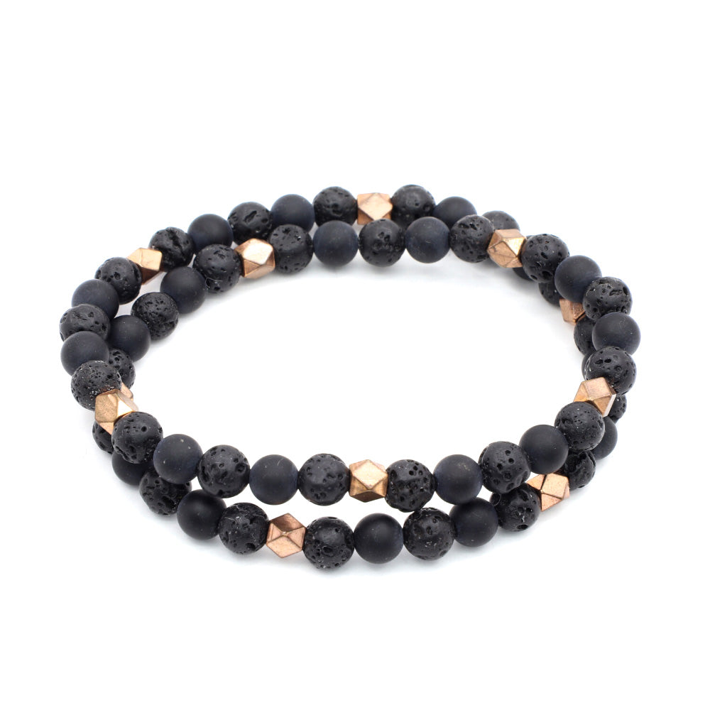 MATTE BLACK ONYX WITH VOLCANIC ROCK AND COPPER PLATED BRASS