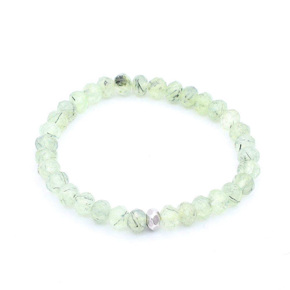 FACETED PREHNITE WITH THAI SILVER