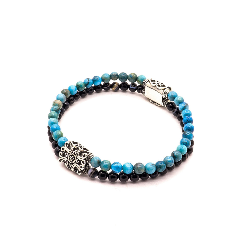 4MM BLACK SARDONIX WITH BLUE AGATE AND ORNAMENTAL BALI SILVER