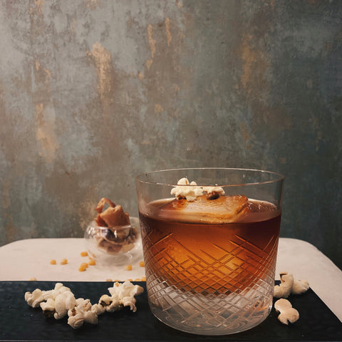 Bacon-washed Popcorn Old Fashioned (serves two)