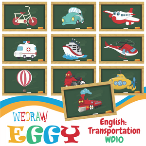 English / Art: Transportation - 10pcs-Eggy Cards-PenPalBots