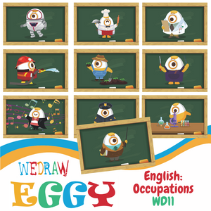English / Art: Occupations - 10pcs-Eggy Cards-PenPalBots