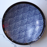 Large round blue wave platter