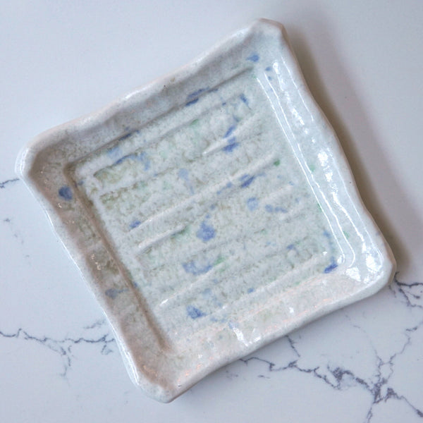 White marble square plate