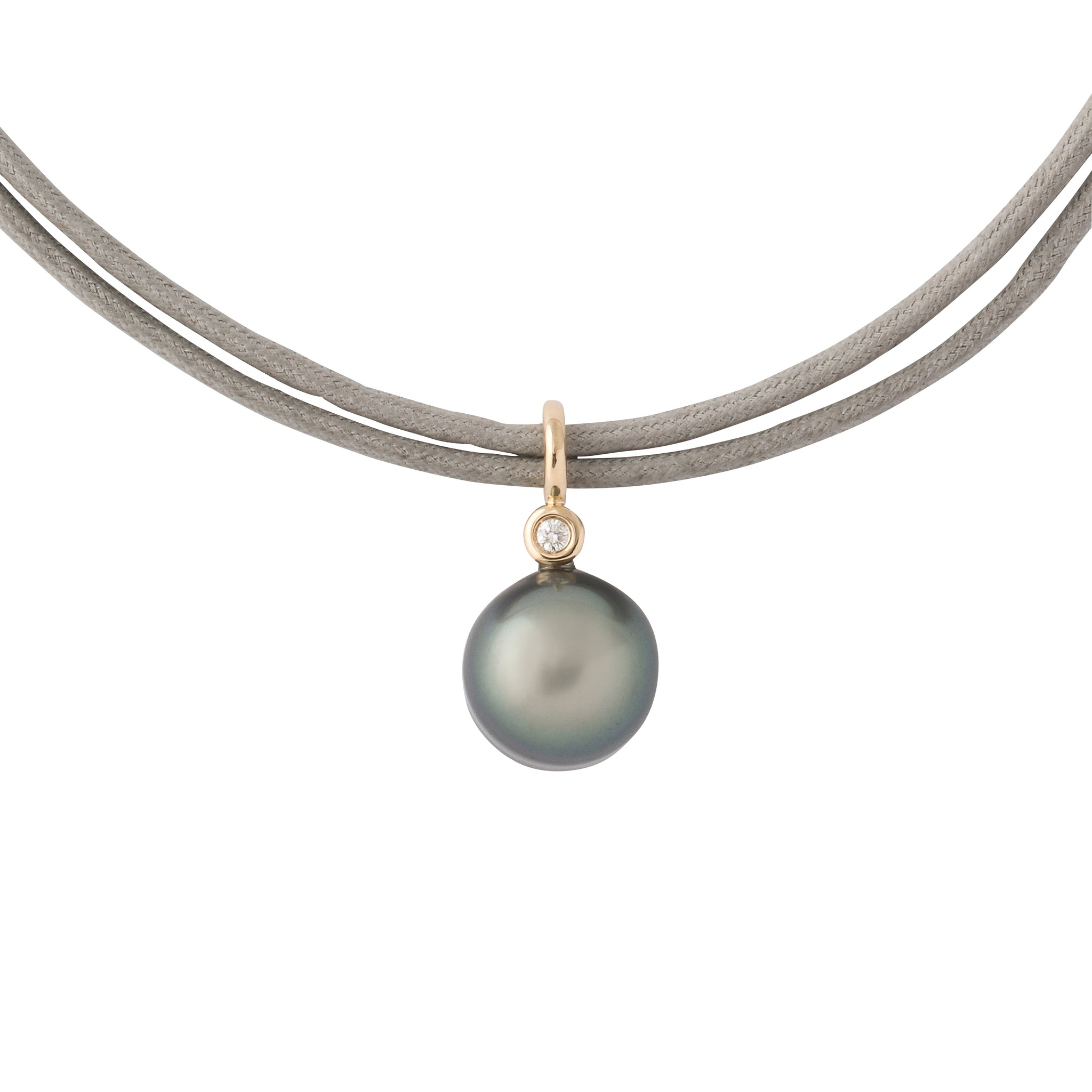 Grey South Sea Pearl Drop 14k Gold Bale .12ct Diamond