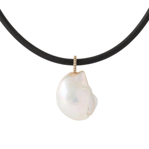 large 20mm cultured freshwater baroque pearl pendant w/ 14K yellow gold diamond bale
